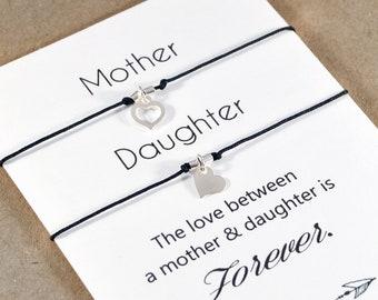 Mothers Day Gift. Sterling Silver Bracelets Set. Gift for Mom. Wish Bracelet. Mother Daughter. String Heart Bracelets. Matching Bracelets