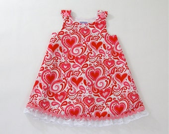 Heart Girls Dress, Newborn Dress, Baby Dress, Girls Sundress, Girls Pinafore,  Girls' Clothing, Sizes Newborn to 18-24 Months