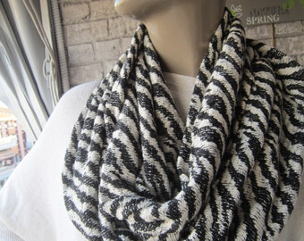BIG SALE/Black Zebra Print/infinity scarf ,  Fashion ,Scarves Christmas gifts for her accessories