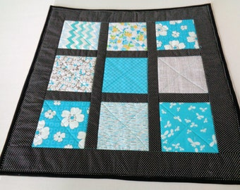 Turquoise and Black Table Topper - Quilted Tablecloth - Floral Table Quilt - Quiltsy Handmade - Square Table Runner