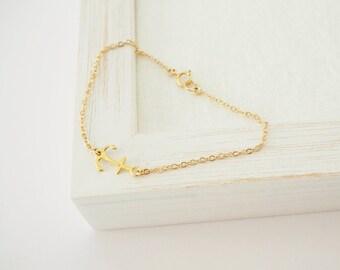 Gold Anchor Bracelet, Sideways Anchor Bracelet