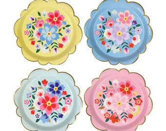 Kashmiri Large Paper Plates, Bright Floral Party Plate with Gold Edge Detail, Folk Art Fiesta Plate, Elegant Mexican Themed Party