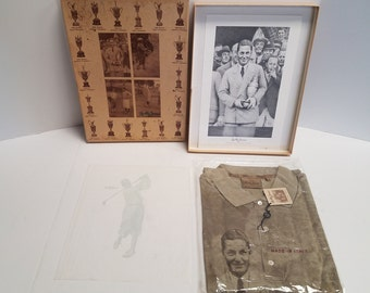 Bobby Jones Golf Champion Box Set. British, U.S Open, U.S British Amateur Champion, Grand Slam. Commemorative shirt, Greg Rudd  s/n  print