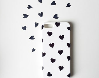 Black Hearts iPhone X case / cute iPhone 8 case / 8 Plus / Black and white iPhone 7 case / iPhone 7 Plus / graphic iPhone 6S/6 / iPhone 5/5S