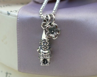 Garden Gnome necklace All Sterling silver with 18 inch chain