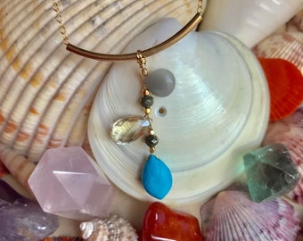 Turquoise, moonstone, sunstone on gf cabke chain