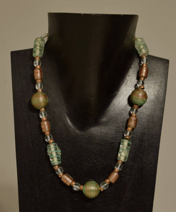 Necklace Czechoslovakian Iridescent Bronze and Green Glass Green Swirl Beads Copper Beaded Handmade Beaded Glass Necklace Jewelry