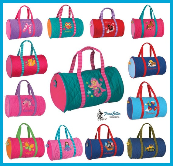 Stephen Joseph Quilted Duffel Bag, Children's Personalized Duffel Bag, Princess, Sports, Owl, Pirate, Butterfly, Airplane, Mermaid.