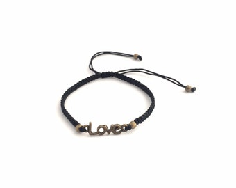 Love Charm Bracelet - Brass Love Bracelet - I Love You More Bracelet - Macrame Bracelet - Brass Charm Bracelet - Valentines Day Gift