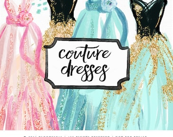 Dresses Clip Art   Hand Drawn Watercolor haute couture gowns with glitter   Digital Graphics   Graphic Design Resources