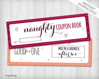 Printable NAUGHTY Coupons for boyfriend, husband, significant other -Adult- Instant Download
