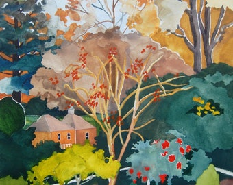 Autumn Leaves and Fall Colors; Original Landscape Watercolor Painting