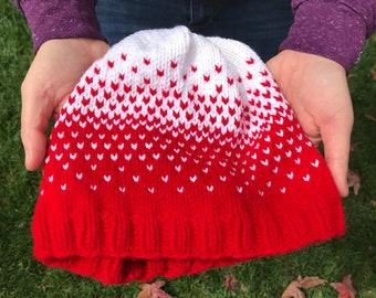 Red White Ombre Fair Isle Beanie Hat