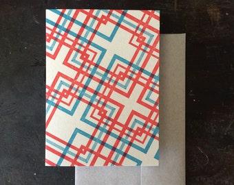 Lovers' Knot Letterpress Notecard - Tomato & Blue