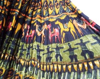 Vintage Boho Hippie Crinkle Skirt Indian Horse Ethnic Folk Print Black Cotton