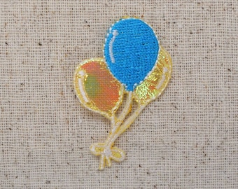 Balloons - Shimmery - Yellow/Blue - Iron on Applique - Embroidered Patch - 695734A