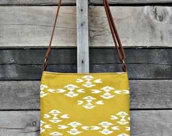 Crossbody Bag, Gold Ikat, Genuine Leather, Everyday Purse, Adjustable Strap