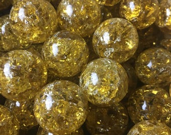Vintage Lot of 10 Yellow/Gold Crackled Shattered Fried Glass Marbles