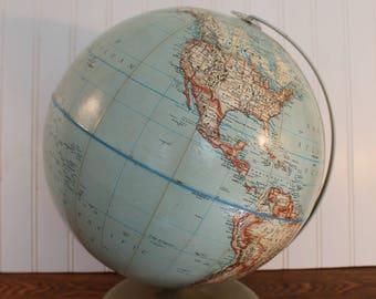 "Rand McNally 12"" Political Globe, 1960s Vintage Retro, Gift for Traveler, Old School Globe, Bohemian Decor, Collectible Globe, Made in USA"