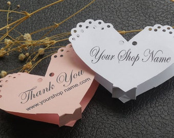 10 Bracelet tags, necklace tags, jewelry display cards, boutique supplies, fold over heart shaped tags, hang tags, 4.75 X 3.25 jewelry cards