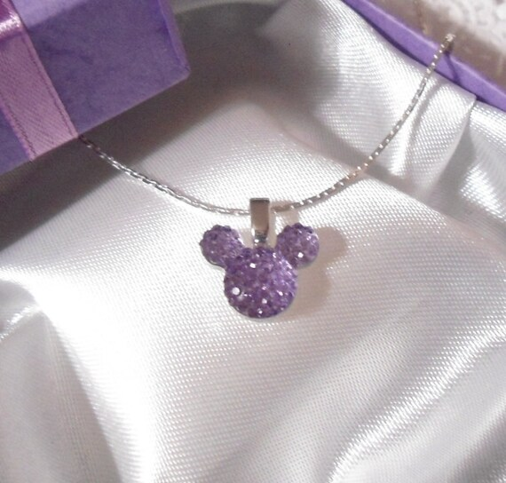 Mickey MOUSE EARS Necklace for Disney Wedding Party in Dazzling Lavender Acrylic