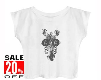 Zebra Glasses shirt zebra shirt animal shirt funny shirt women workout tops blogger tshirt hipster shirt women shirt crop top cropped shirt