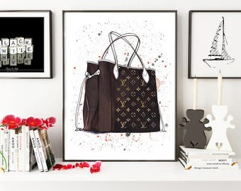 Louis Vuitton, Louis Vuitton art, Louis Vuitton bag, Fashion illustration, Fashion sketch, Fashion poster, Fashion art, Watercolor painting