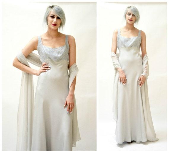 Vintage Silk Evening Gown Size Medium Grey SIlver// Vintage