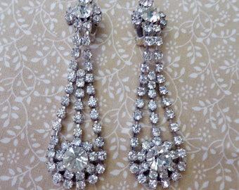 1980s Big Vintage Rhinestone Clip Earrings