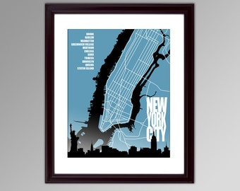 New York City Poster, Print or Canvas, NYC Neighborhoods, Street Map, Housewarming or Moving Gift Idea, Custom Home Decor on a Budget