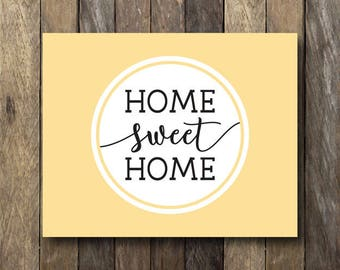 Home Sweet Home Wall Art - Printable 8x10 - Instant Download Wall Art - Yellow and Gray Decor - Home Sweet Home - Yellow and Gray Wall Art