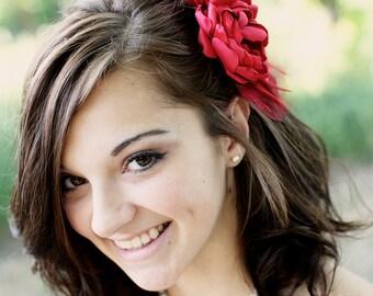 Scarlet Red Bridal Flower Hair clip, Wedding Hair Accessory, Fascinator, Satin, Crystals, Bridal Head Piece