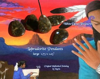 "Large Labradorite Pendant 1.75"" Tear Drop Polished Smooth ~ Sea Salt ~ Gift Box"