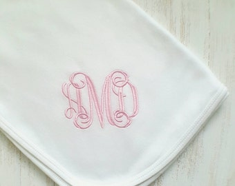 Personalized baby girl blanket- baby girl receiving blanket, baby girl blanket, baby gift, monogrammed baby blanket, embroidered, 30x40 in.