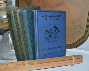 Set of Vintage Blue and Green Books, 1924, (2) 1927, 1930