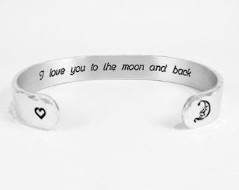 """Couples Jewelry / Husband Gift / Wife Gift / Anniversary Gift / Valentine's Day Gift / Mom Gift ~ I love you to the moon and back ~ 3/8""""cuff"""