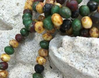 7x5 rondelle czech beads, turquoise, red, amber with picasso finish, earthy rondelles