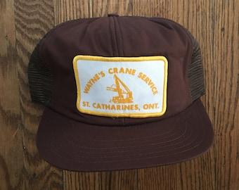 Vintage Wayne's Crane Service St. Catharines Ontario Mesh Trucker Hat Snapback Baseball Cap Patch