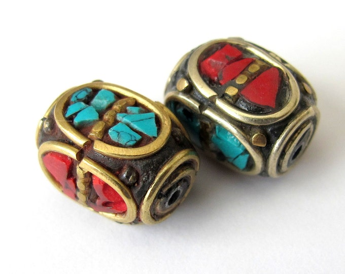 Nepal cuboid brass Beads - 2 beads-BD049