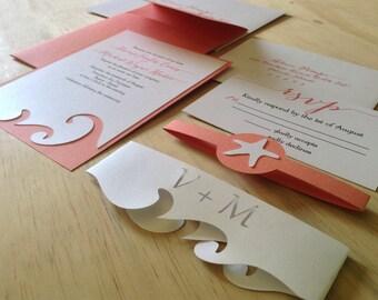 Beach Wedding Invitation - Destination Wedding Invitation - Ocean Wedding - Nautical Wedding - Destination Wedding - Wedding - Invitation
