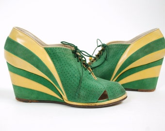 RESERVED on LAYAWAY Vintage 1930s Shoes - Summer 2018 Lookbook - RAREST Two Toned Wedge Heels in Green Suede and Yellow Leather Size 5 6