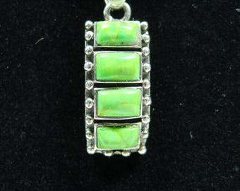 Sterling and Green Turquoise Necklace