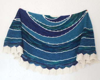 Hand Knit Shawl in Blues and Teals