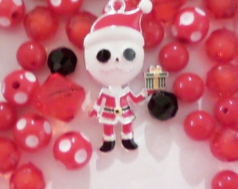 Skelington Inspired Christmas Bead Collection, 10mm beads and larger, K31