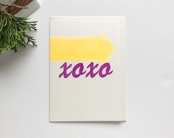 XOXO - Arrow - Letterpress Printed - Handmade - For Him or For Her - Love - Wood Type