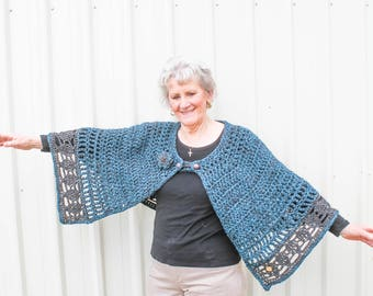 Crochet Capes for Women – Country Market Collection – Crochet Wrap - Seascape - Teal and Grey