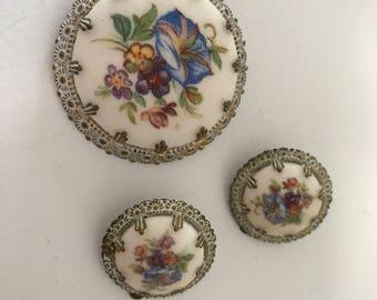 Vintage West Germany brooch and clip earrings