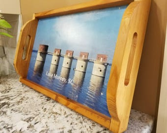 Lake Murray Tray, Personalized Serving Tray,  Serving Tray With Photo, Wood Serving Tray, Personalized Tray, Custom Serving Tray, Photo Tray