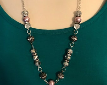 crystal bead necklace, pink bead necklace, pink pearl necklace