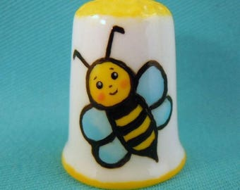 HAND PAINTED Bone China Thimble with BEE